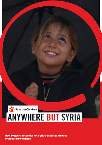 Coverfoto von dem Save the Children Report Anywhere but Syria
